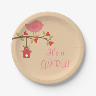 It's a GIRL! Pink Bird Baby Shower Paper Plates
