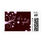 it's a girl! : pink blossoms : postage stamps