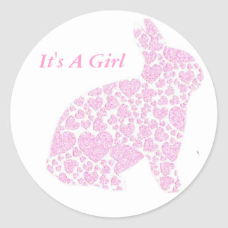 It's a Girl Pink Bunny Stickers