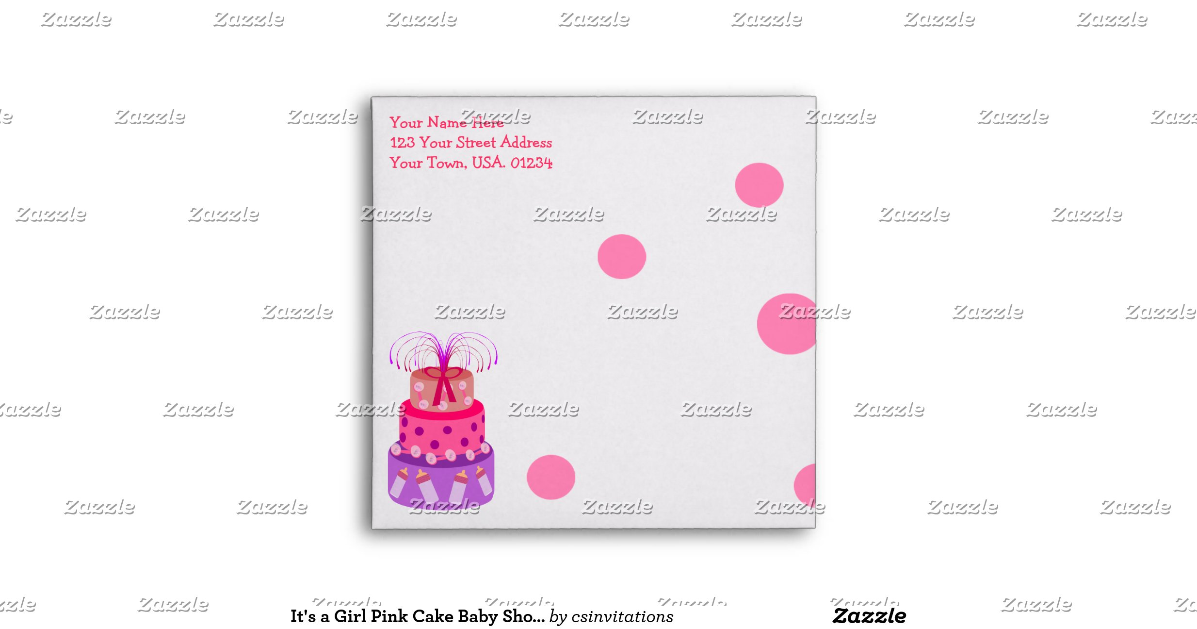 its a girl pink cake baby shower envelopes