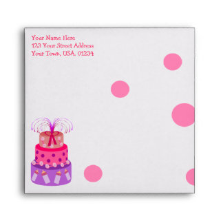 It's a Girl Pink Cake Baby Shower Envelopes