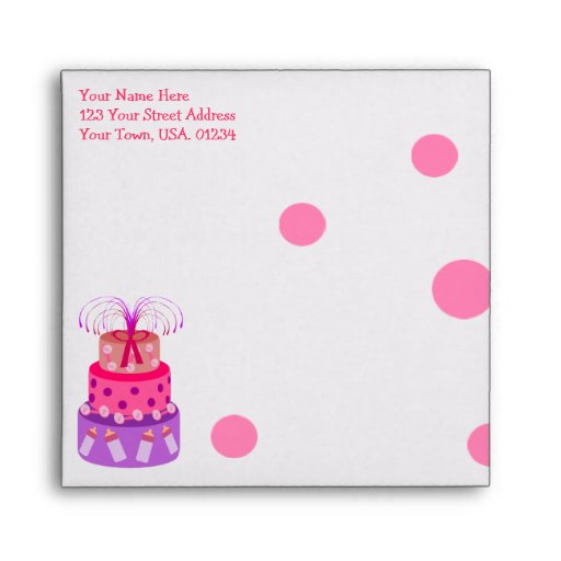 it 39 s a girl pink cake baby shower envelopes zazzle