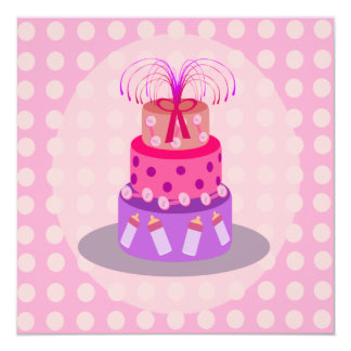 It's A Girl Pink Cake Baby Shower Invitations