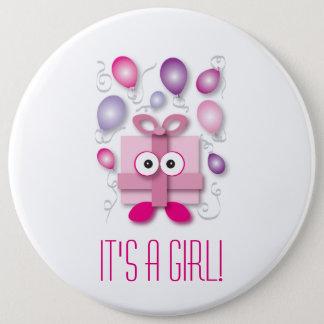 It's a Girl - Pink Cartoon Box - Gender Reveal Pinback Button