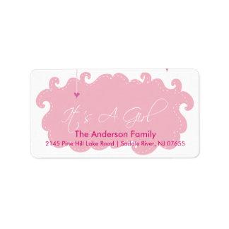 It's A Girl Pink Cloud address Label