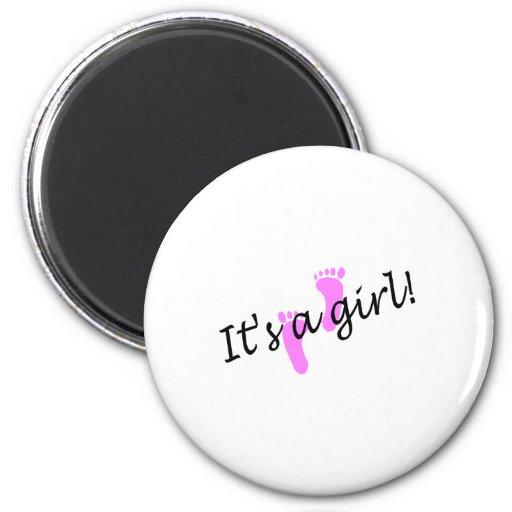 It's A Girl (Pink Feet) Fridge Magnet