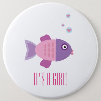 It's a Girl! - Pink Fish Cartoon - Gender Reveal Button