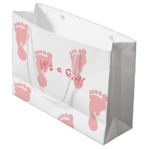 It's a Girl Pink Footprint Patterned Large Gift Bag