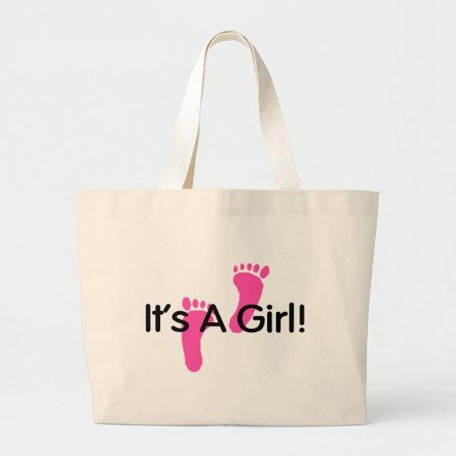 Its A Girl Pink Footprints Jumbo Tote Bag