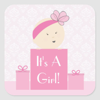 It's A Girl Pink Gifts Sticker