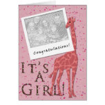 It's A Girl! Pink Giraffe Greeting Card