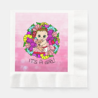 It's a Girl, Pink Girl's Baby Shower Caucasian Napkins