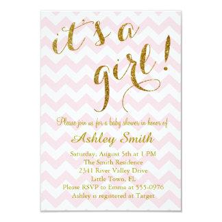 It's a Girl Pink Glitter Chevron Card