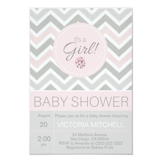 Its a girl pinkgrey chevron baby shower invitation zazzle its a girl pinkgrey chevron baby shower invitation filmwisefo