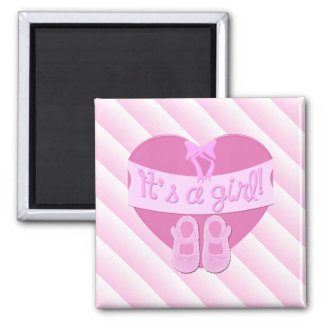 It's a girl Pink Heart Bow Shoes Baby Girl Shower 2 Inch Square Magnet