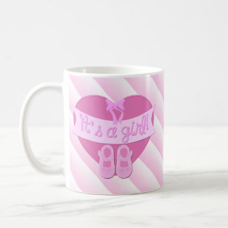 It's a girl Pink Heart Bow Shoes Baby Girl Shower Coffee Mug