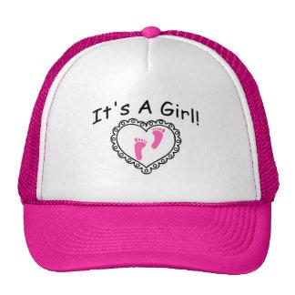Its A Girl Pink Heart Trucker Hat