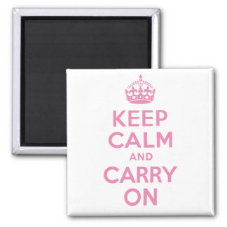 It's a Girl Pink Keep Calm And Carry On 2 Inch Square Magnet