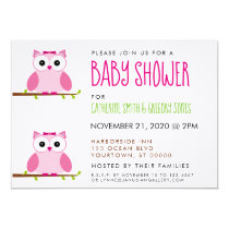It's a Girl Pink Owl Baby Shower Party Invitation