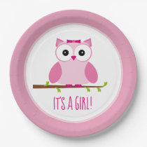 It's a Girl Pink Owl Gender Reveal Baby Shower Paper Plate