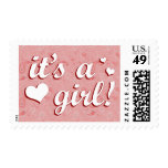 it's a girl! : pink paisley : postage stamp