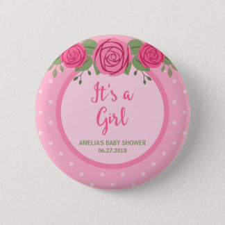 It's a Girl Pink Polka Dot and Floral Baby Shower Pinback Button