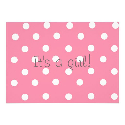 it 39 s a girl pink polka dot and pony baby shower 5x7 paper invitation