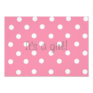 It's a girl Pink Polka Dot and Pony Baby Shower 5x7 Paper Invitation Card