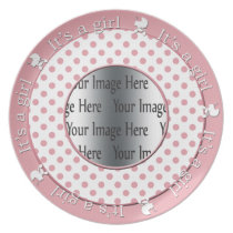 its a girl pink polka dots cute gift photo plates