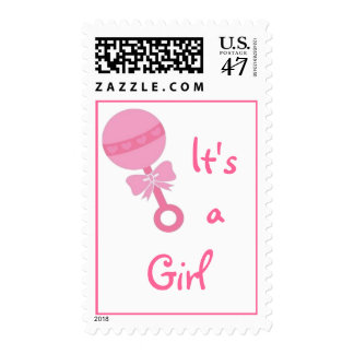 """""""It's a Girl"""" Pink Rattle Stamp"""