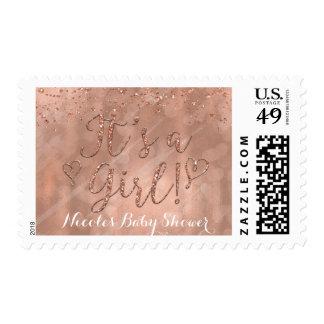 It's a Girl Pink Rose Gold Glamour Faux Glitter Postage