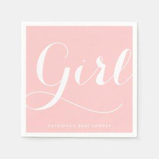 It's a Girl   Pink Script Baby Shower Paper Napkin