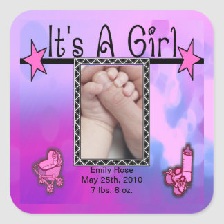 It's A Girl Pink Stars Purple Square Stickers