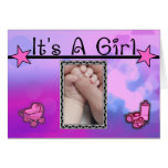 It's A Girl Pink Stars Set Cards