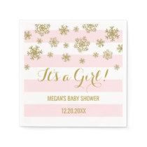 It's a Girl Pink Stripes Gold Snow Baby Shower Paper Napkin