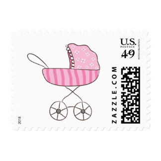 It's A Girl Pink Stroller Postage   Small