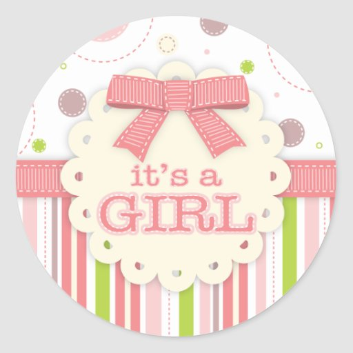 it 39 s a girl pinks green stitches baby shower classic round sticker