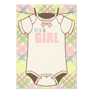 It's A Girl Plaid Baby Shower Invitations