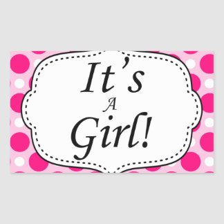 Its A Girl Polka Dot Milestone Rectangular Sticker