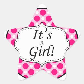 Its A Girl Polka Dot Milestone Star Sticker
