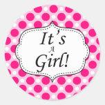 Its A Girl Polka Dot Milestone Classic Round Sticker