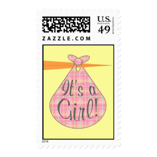 It's A Girl Postage Stamp - Pink Plaid Stork