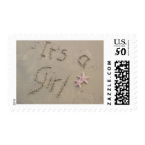 It's a Girl Postage Stamp - Written in Sand