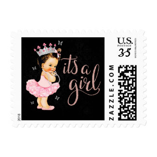 It's a Girl Princess Baby Shower Postage Stamps