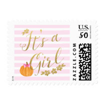 It's a Girl Pumpkin Fall Baby Shower Postage