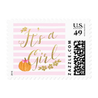 It's a Girl Pumpkin Fall Baby Shower Postage Stamp