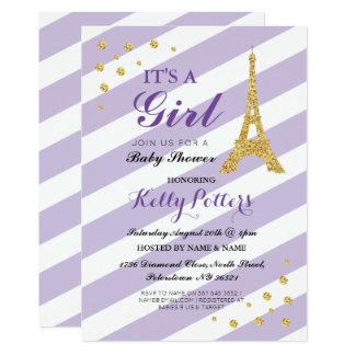 It's a Girl Purple Baby Shower Eiffel Tower Stripe Card