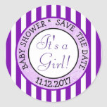 Its a Girl Purple Baby Shower Sticker