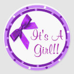 Its a Girl Purple Bow Stickers
