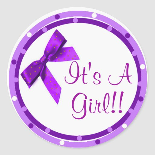 Its a Girl Purple Bow Stickers | Zazzle